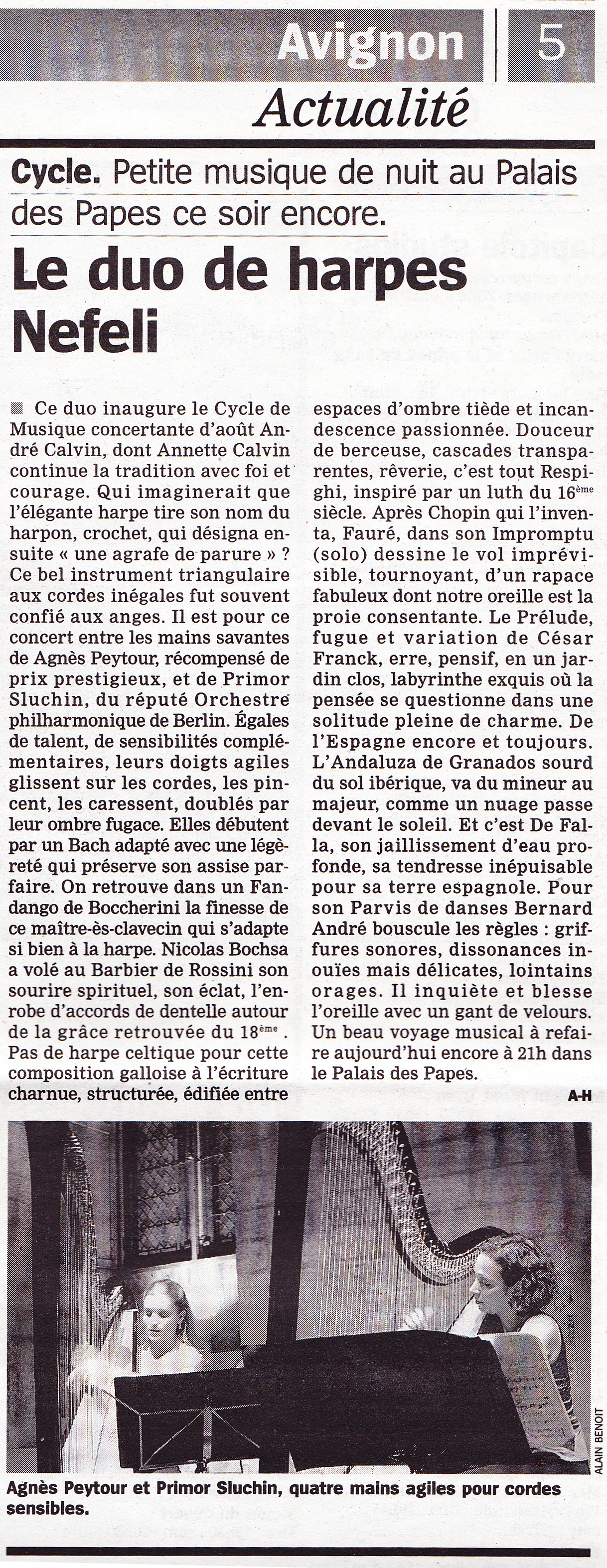Duo de harpes Nefeli – Avignon